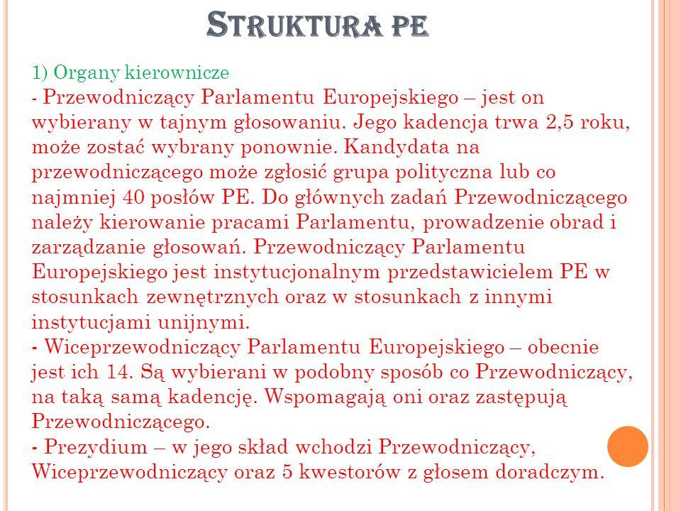 2) Organy funkcjonalne - Komisje stałe – obecnie jest ich 20 i są podzielone według poszczególnych dziedzin prawa unijnego.