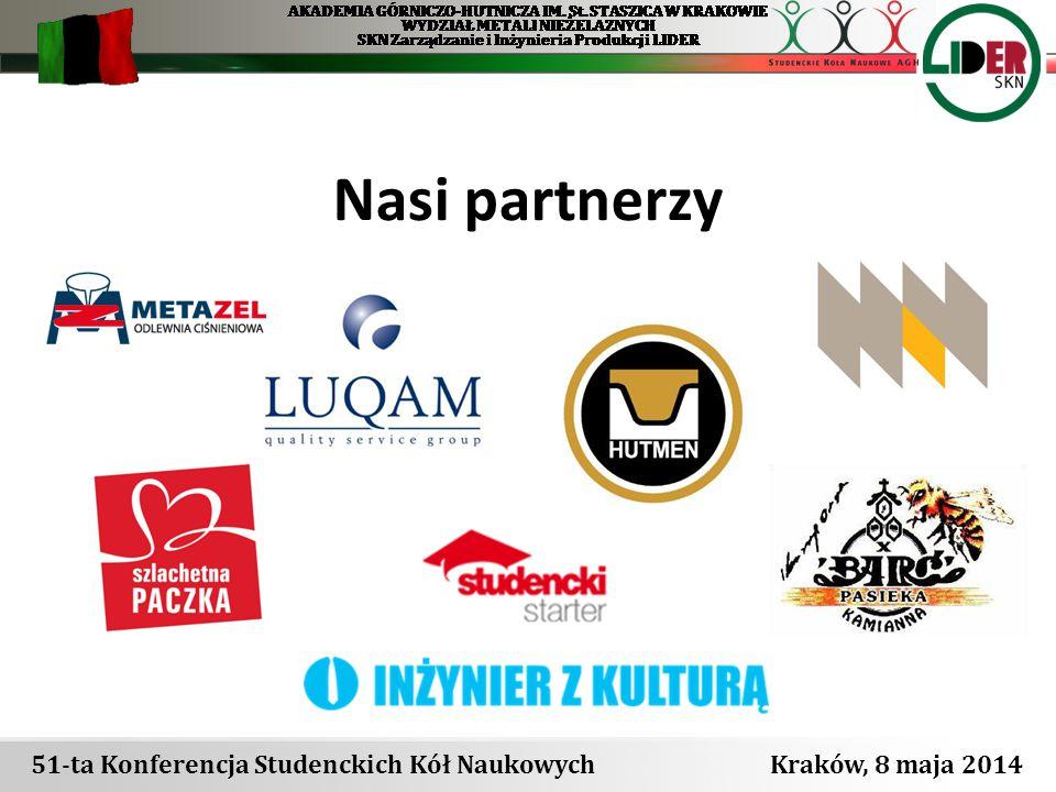 51-ta Konferencja Studenckich Kół Naukowych Kraków, 8 maja 2014 Nasi partnerzy