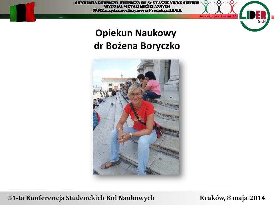 51-ta Konferencja Studenckich Kół Naukowych Kraków, 8 maja 2014 Zarząd Koła Prezes - Joanna Wlezień Vice- Prezes – Kazimierz Lubas Sekretarz- Krzysztof Stola
