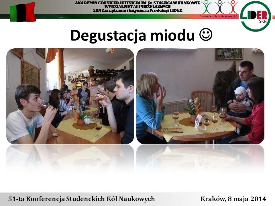 51-ta Konferencja Studenckich Kół Naukowych Kraków, 8 maja 2014 Degustacja miodu