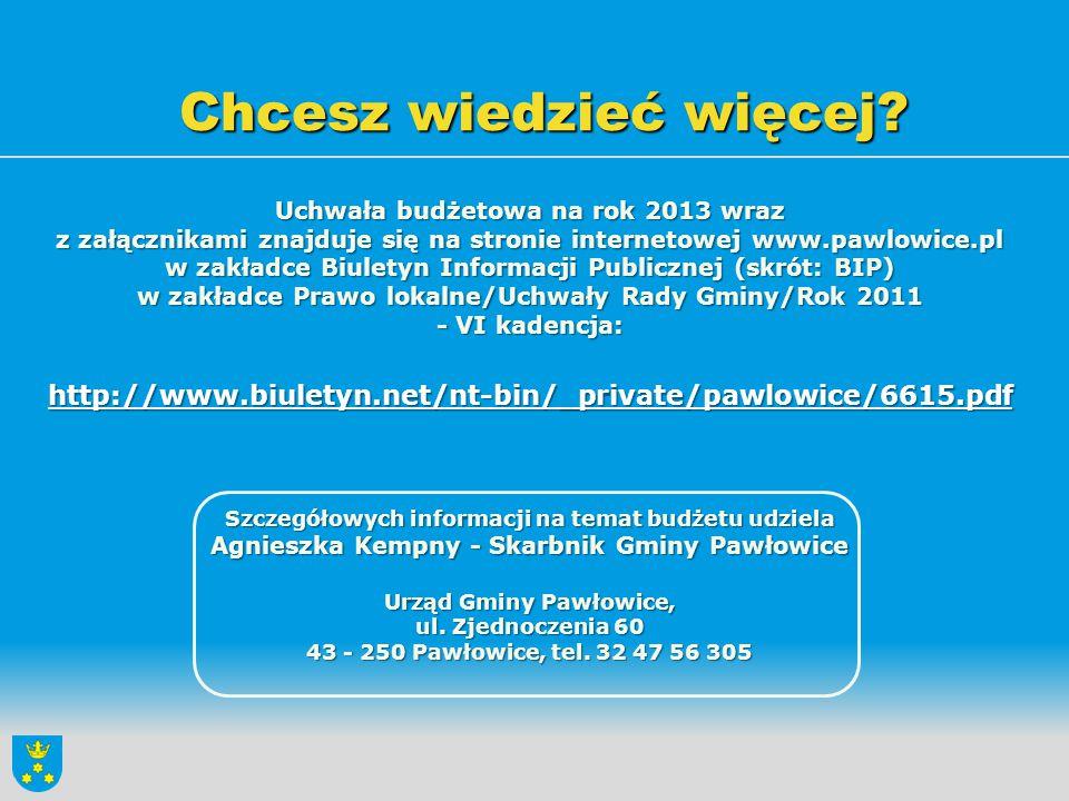 Chcesz wiedzieć więcej? Uchwała budżetowa na rok 2013 wraz z załącznikami znajduje się na stronie internetowej www.pawlowice.pl w zakładce Biuletyn In