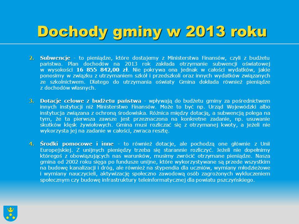 Dochody gminy w 2013 roku Dochody w wysokości 353 000,00 zł z opłat z tytułu zezwoleń na sprzedaż napojów alkoholowych przeznaczone zostaną na realizację zadań ujętych w gminnym programie profilaktyki i rozwiązywania problemów alkoholowych oraz gminnym programie przeciwdziałania narkomanii.