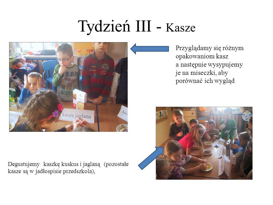Tydzień III - Kasze Przyglądamy się różnym opakowaniom kasz a następnie wysypujemy je na miseczki, aby porównać ich wygląd Degustujemy kaszkę kuskus i