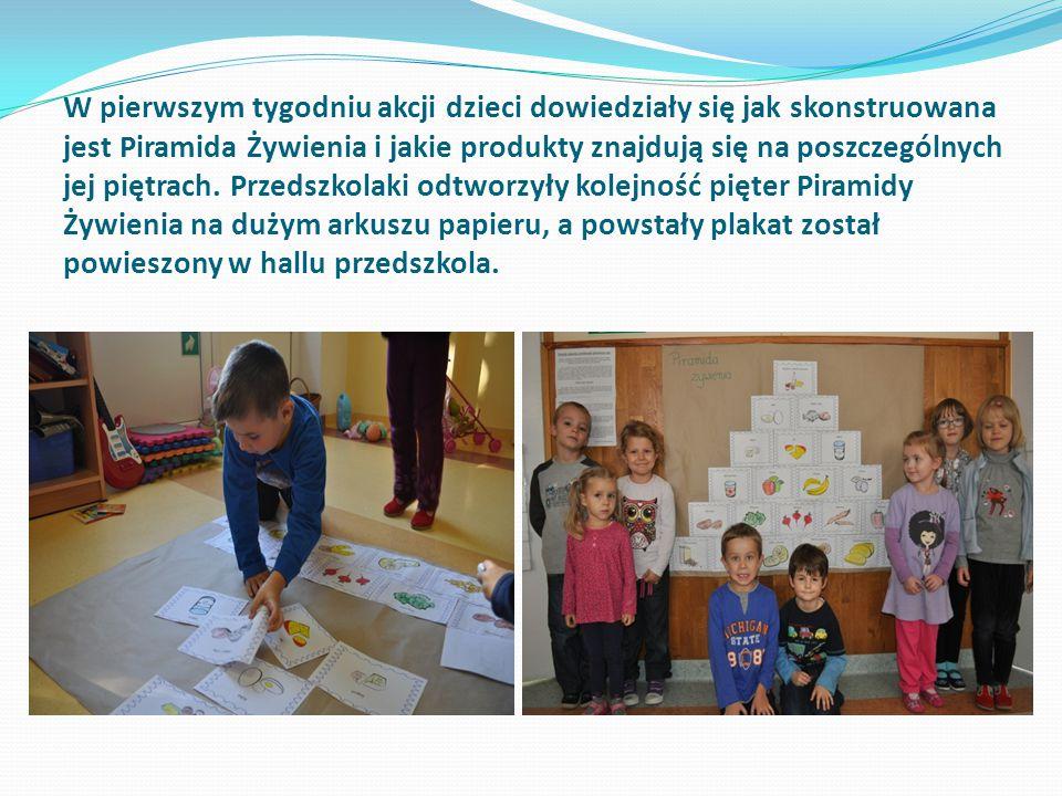 W pierwszym tygodniu akcji dzieci dowiedziały się jak skonstruowana jest Piramida Żywienia i jakie produkty znajdują się na poszczególnych jej piętrach.