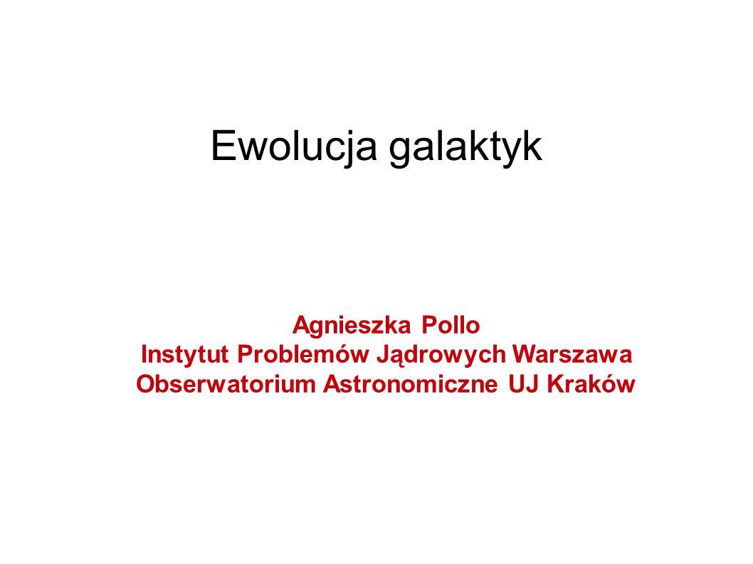 Ewolucja galaktyk Agnieszka Pollo Instytut Problemów Jądrowych Warszawa Obserwatorium Astronomiczne UJ Kraków