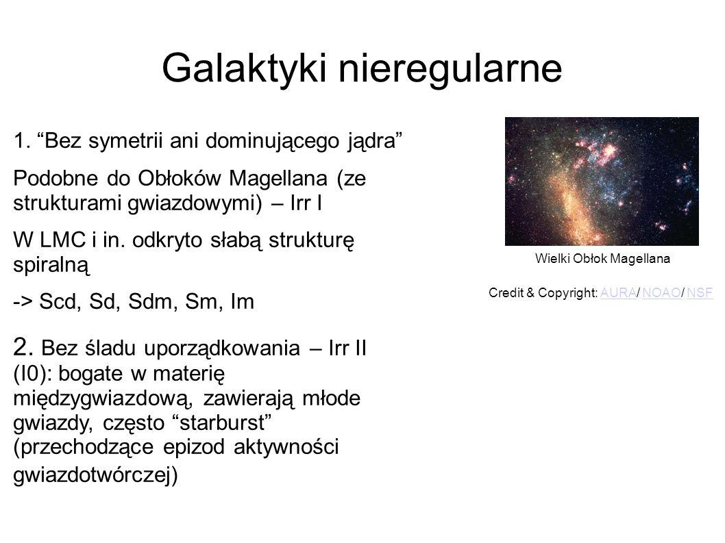 """Galaktyki nieregularne 1. """"Bez symetrii ani dominującego jądra"""" Podobne do Obłoków Magellana (ze strukturami gwiazdowymi) – Irr I W LMC i in. odkryto"""