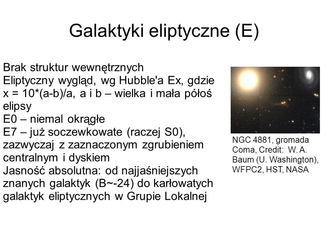 Galaktyki eliptyczne (E) NGC 4881, gromada Coma, Credit: W. A. Baum (U. Washington), WFPC2, HST, NASA Brak struktur wewnętrznych Eliptyczny wygląd, wg