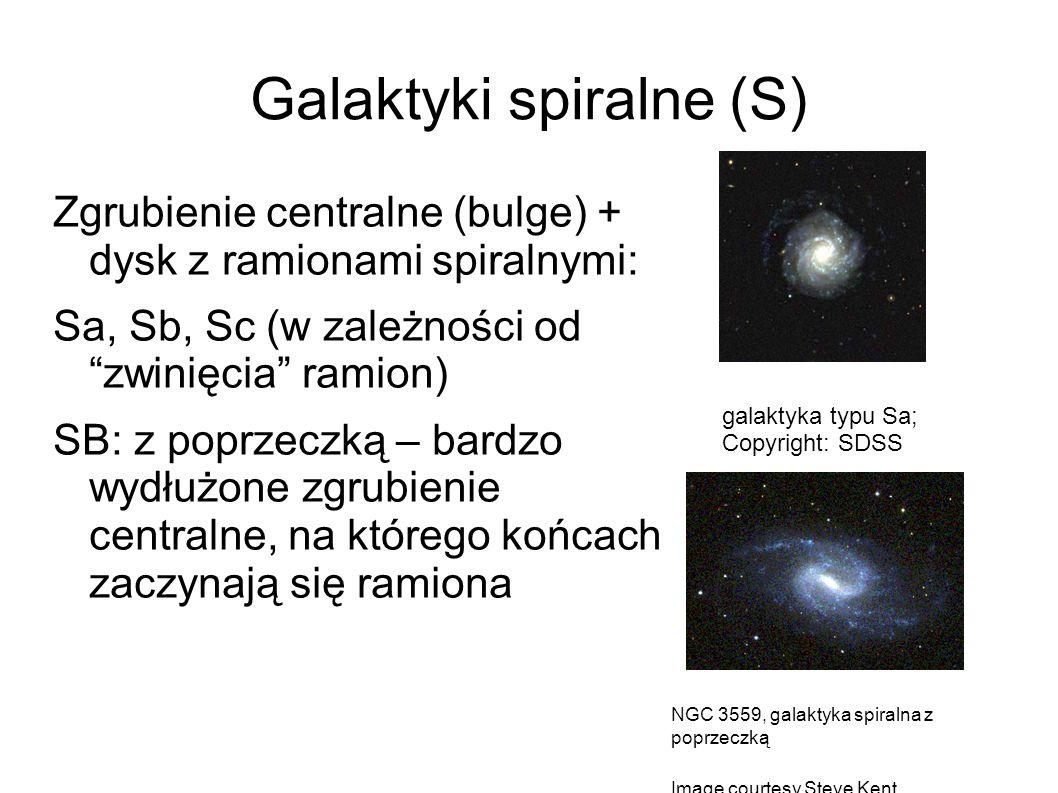 """Galaktyki spiralne (S) Zgrubienie centralne (bulge) + dysk z ramionami spiralnymi: Sa, Sb, Sc (w zależności od """"zwinięcia"""" ramion) SB: z poprzeczką –"""