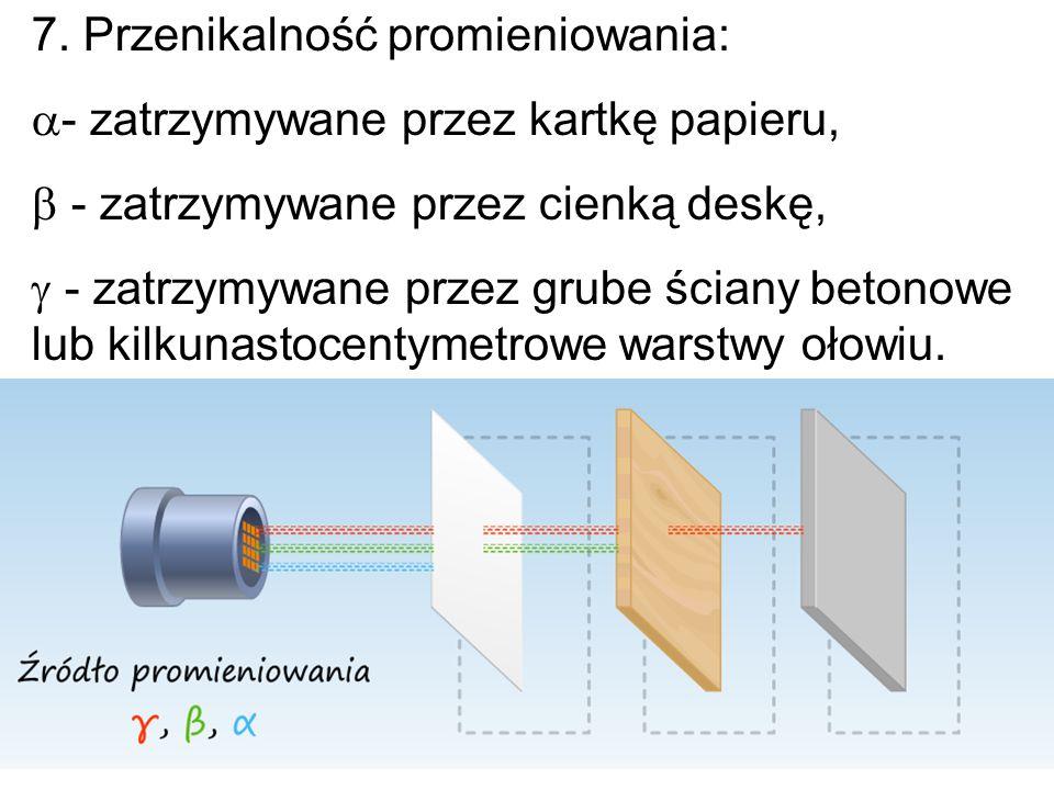 7. Przenikalność promieniowania:  - zatrzymywane przez kartkę papieru,  - zatrzymywane przez cienką deskę,  - zatrzymywane przez grube ściany beton