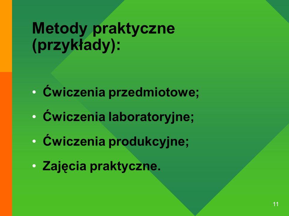 11 Metody praktyczne (przykłady): Ćwiczenia przedmiotowe; Ćwiczenia laboratoryjne; Ćwiczenia produkcyjne; Zajęcia praktyczne.