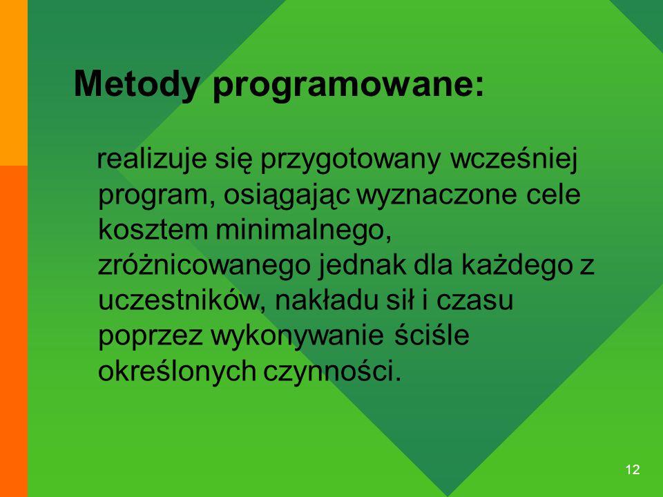 12 Metody programowane: realizuje się przygotowany wcześniej program, osiągając wyznaczone cele kosztem minimalnego, zróżnicowanego jednak dla każdego