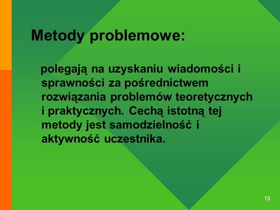 15 Metody problemowe: polegają na uzyskaniu wiadomości i sprawności za pośrednictwem rozwiązania problemów teoretycznych i praktycznych. Cechą istotną