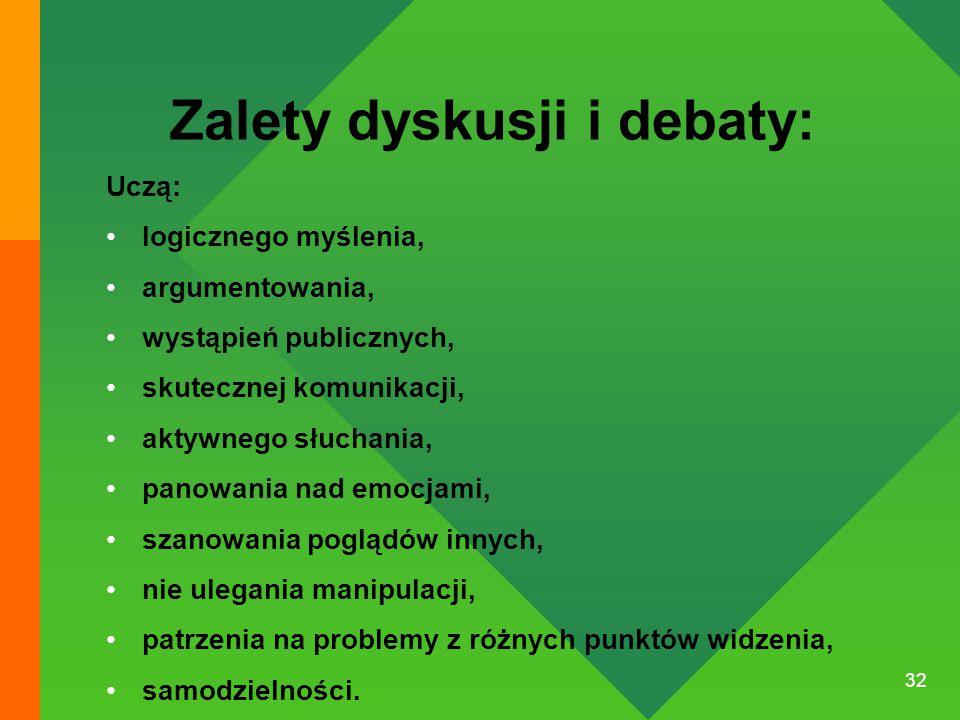 32 Zalety dyskusji i debaty: Uczą: logicznego myślenia, argumentowania, wystąpień publicznych, skutecznej komunikacji, aktywnego słuchania, panowania