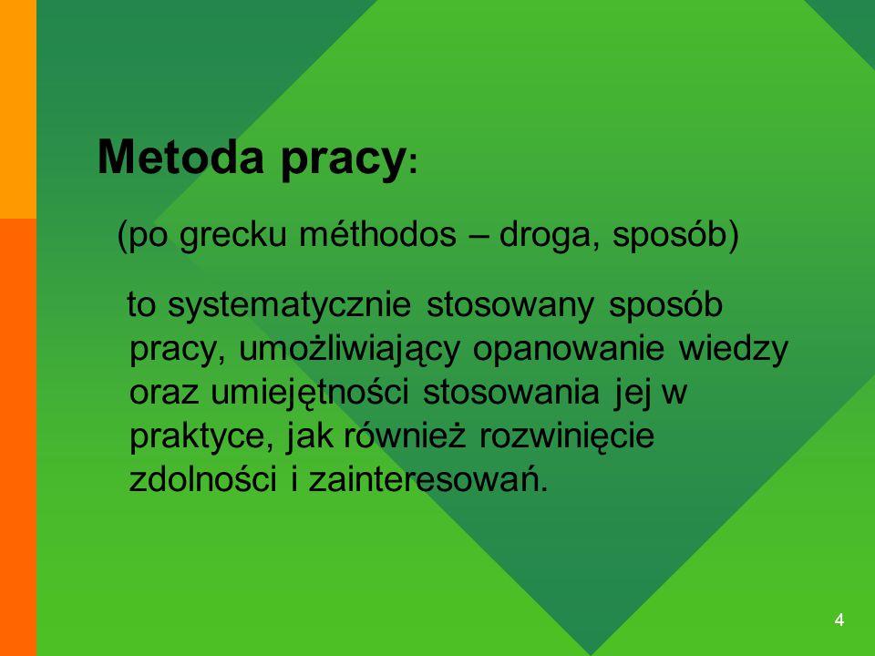 4 Metoda pracy : (po grecku méthodos – droga, sposób) to systematycznie stosowany sposób pracy, umożliwiający opanowanie wiedzy oraz umiejętności stosowania jej w praktyce, jak również rozwinięcie zdolności i zainteresowań.