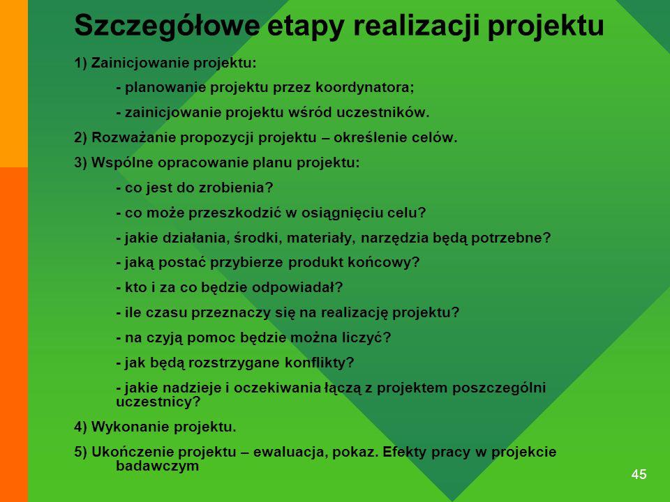 45 Szczegółowe etapy realizacji projektu 1) Zainicjowanie projektu: - planowanie projektu przez koordynatora; - zainicjowanie projektu wśród uczestnik
