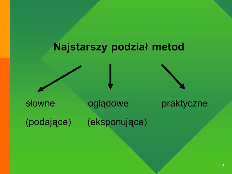 6 METODY SŁOWNE = METODY PODAJĄCE: to przekazanie gotowych wiadomości głównie za pomocą słowa mówionego a następnie pisanego, a w późniejszym okresie i drukowanego.