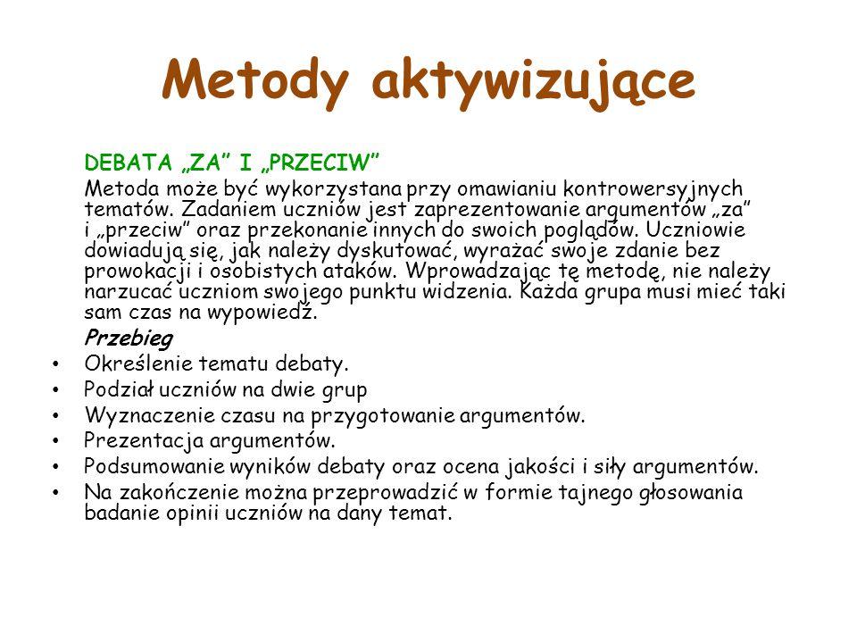 """Metody aktywizujące DEBATA """"ZA I """"PRZECIW Metoda może być wykorzystana przy omawianiu kontrowersyjnych tematów."""