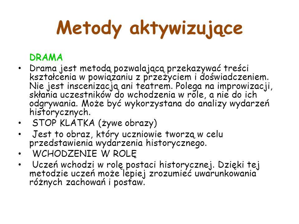 Metody aktywizujące DRAMA Drama jest metodą pozwalającą przekazywać treści kształcenia w powiązaniu z przeżyciem i doświadczeniem.