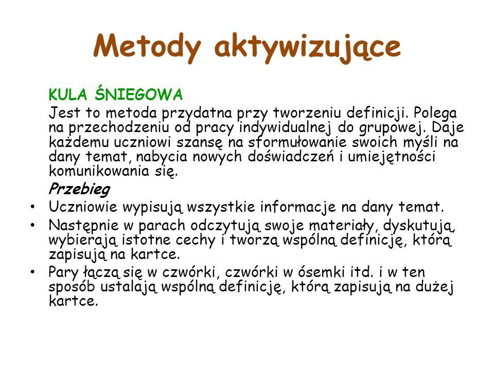 Metody aktywizujące KULA ŚNIEGOWA Jest to metoda przydatna przy tworzeniu definicji.