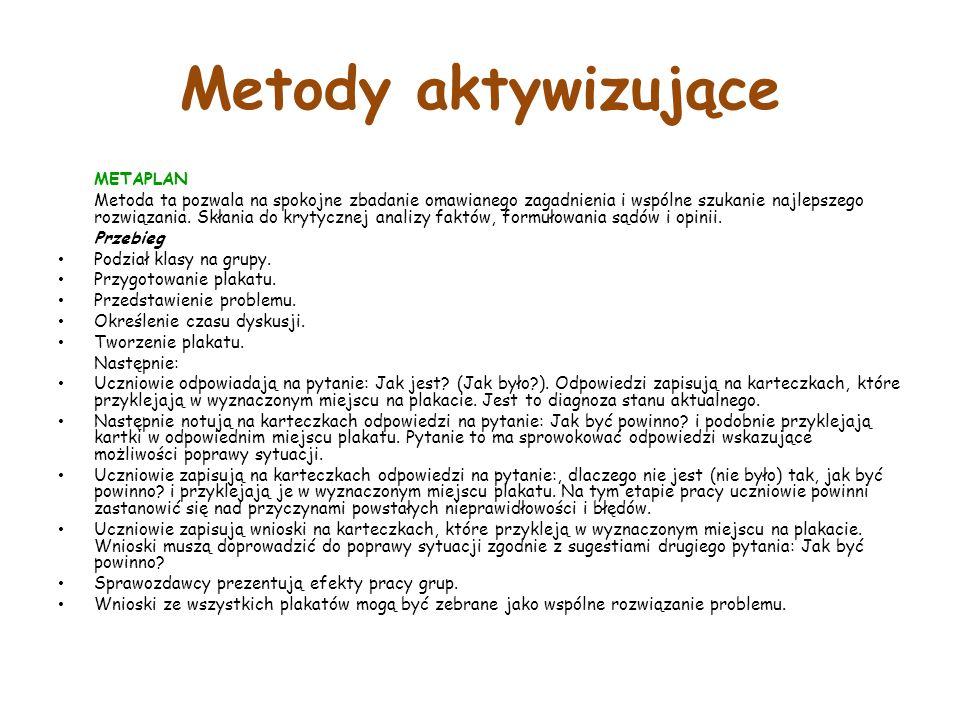 Metody aktywizujące METAPLAN Metoda ta pozwala na spokojne zbadanie omawianego zagadnienia i wspólne szukanie najlepszego rozwiązania.