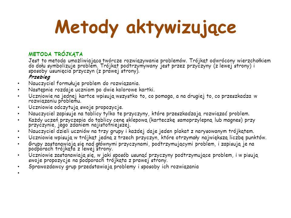 Metody aktywizujące METODA TRÓJKĄTA Jest to metoda umożliwiająca twórcze rozwiązywanie problemów.