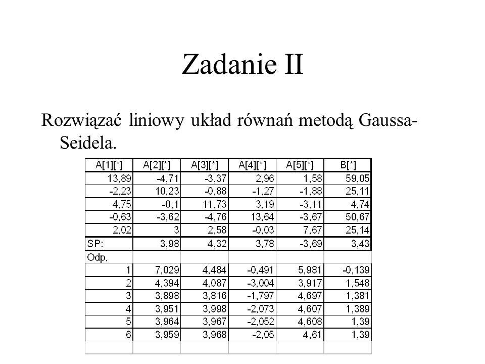 Zadanie II Rozwiązać liniowy układ równań metodą Gaussa- Seidela.