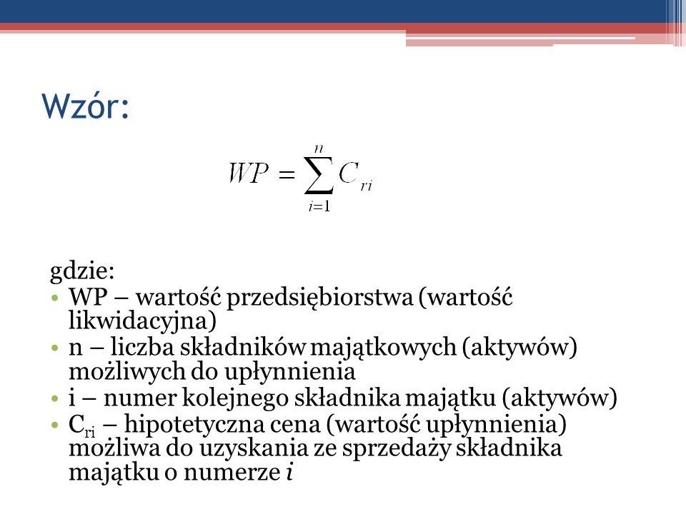Wzór: gdzie: WP – wartość przedsiębiorstwa (wartość likwidacyjna) n – liczba składników majątkowych (aktywów) możliwych do upłynnienia i – numer kolej