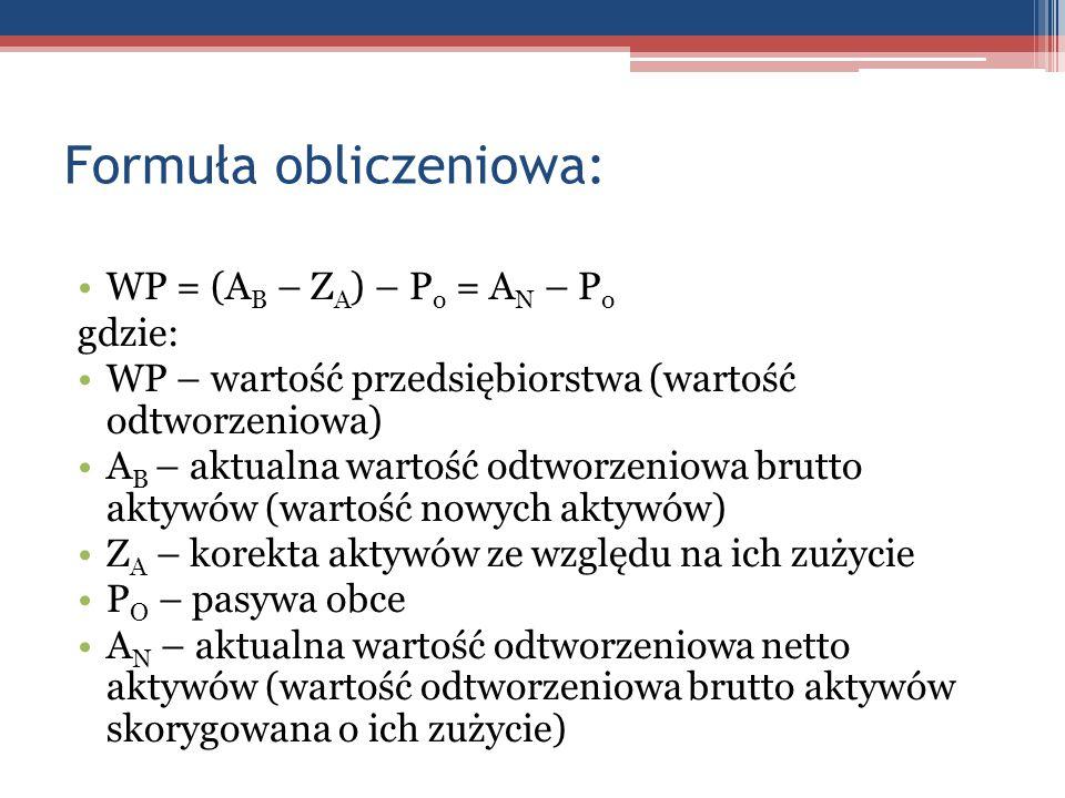 Formuła obliczeniowa: WP = (A B – Z A ) – P o = A N – P o gdzie: WP – wartość przedsiębiorstwa (wartość odtworzeniowa) A B – aktualna wartość odtworze