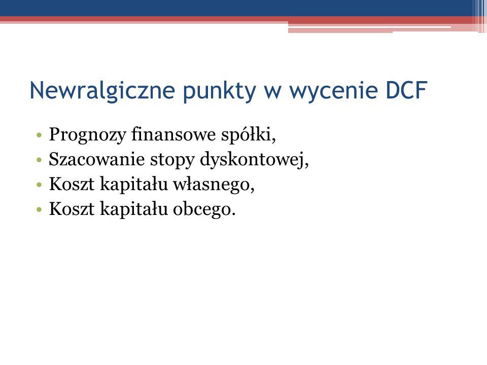 Newralgiczne punkty w wycenie DCF Prognozy finansowe spółki, Szacowanie stopy dyskontowej, Koszt kapitału własnego, Koszt kapitału obcego.