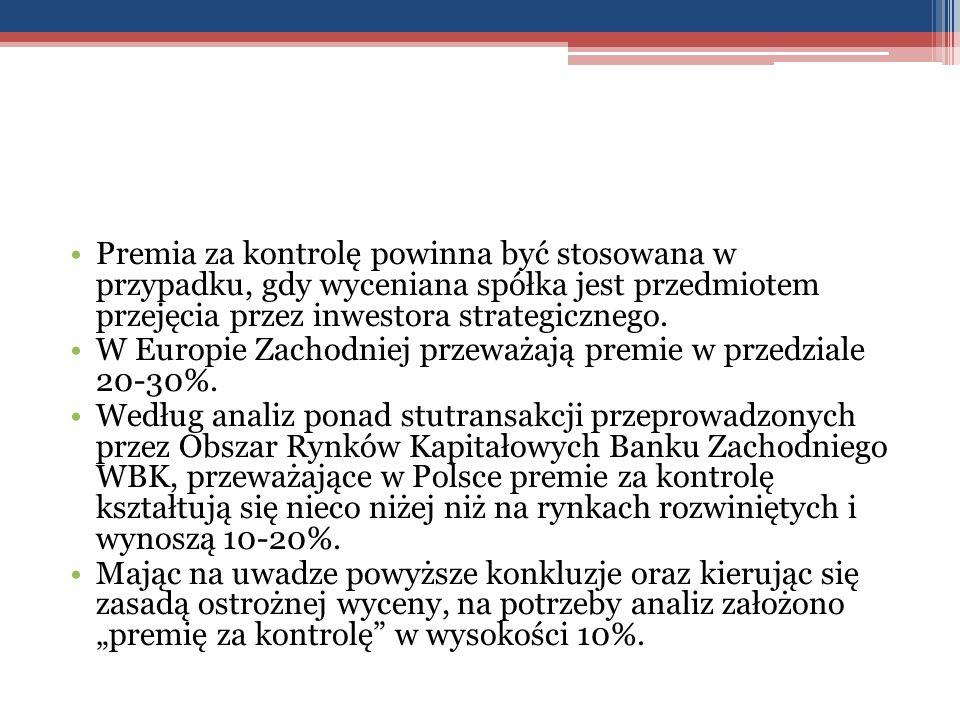 Premia za kontrolę powinna być stosowana w przypadku, gdy wyceniana spółka jest przedmiotem przejęcia przez inwestora strategicznego. W Europie Zachod