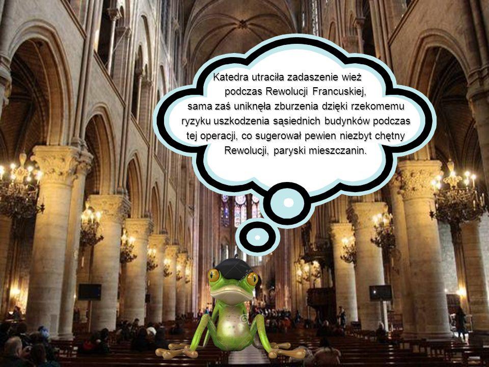 Katedra utraciła zadaszenie wież podczas Rewolucji Francuskiej, podczas Rewolucji Francuskiej, sama zaś uniknęła zburzenia dzięki rzekomemu sama zaś u