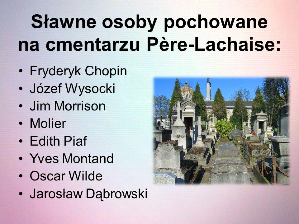Sławne osoby pochowane na cmentarzu Père-Lachaise: Fryderyk Chopin Józef Wysocki Jim Morrison Molier Edith Piaf Yves Montand Oscar Wilde Jarosław Dąbr