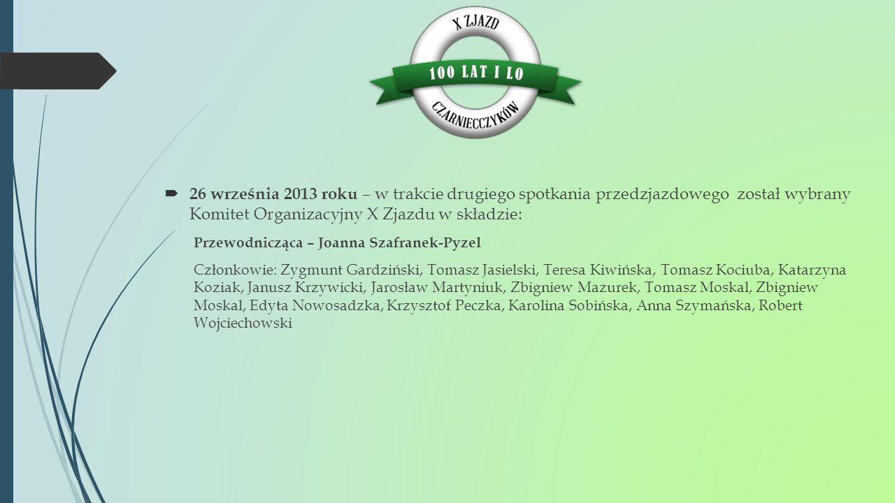  17 października 2013 roku - pierwsze posiedzenie Komitetu Organizacyjnego Uczestniczyli w nim: Przewodnicząca - Joanna Szafranek-Pyzel, Członkowie - Teresa Kiwińska, Tomasz Kociuba, Krzysztof Peczka, Karolina Sobińska, Robert Wojciechowski, a ponadto Zdzisław Jaroszczuk.