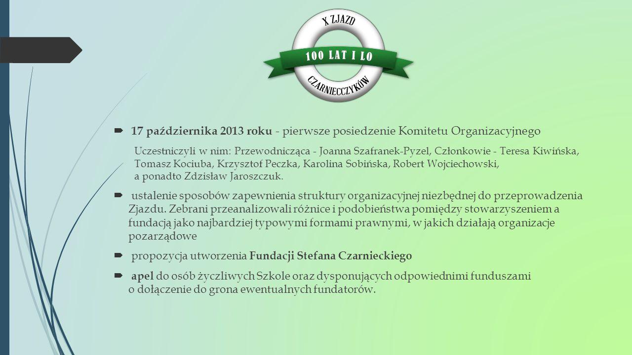  17 października 2013 roku - pierwsze posiedzenie Komitetu Organizacyjnego Uczestniczyli w nim: Przewodnicząca - Joanna Szafranek-Pyzel, Członkowie -