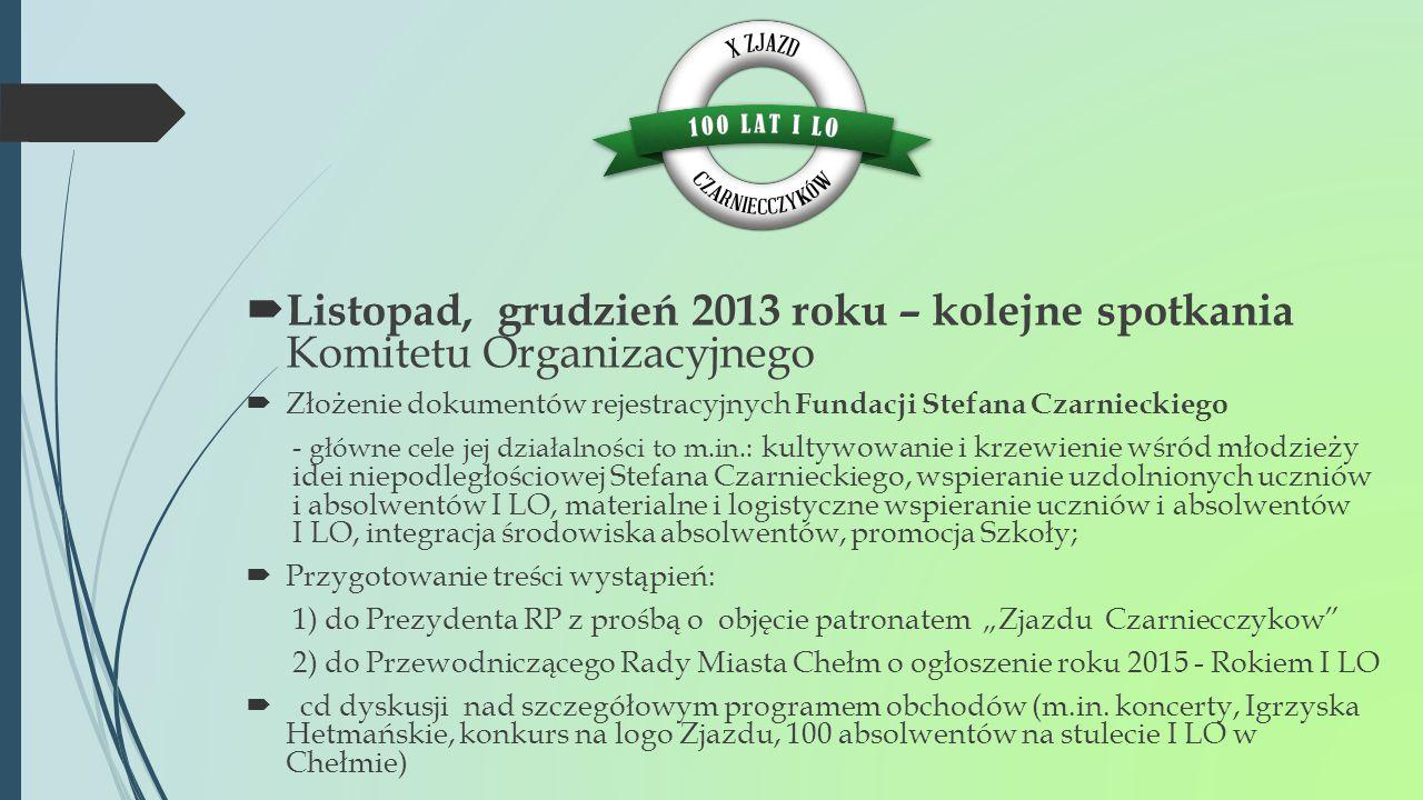  Listopad, grudzień 2013 roku – kolejne spotkania Komitetu Organizacyjnego  Złożenie dokumentów rejestracyjnych Fundacji Stefana Czarnieckiego - głó