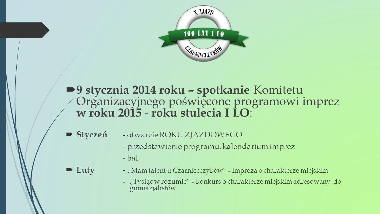  9 stycznia 2014 roku – spotkanie Komitetu Organizacyjnego poświęcone programowi imprez w roku 2015 - roku stulecia I LO :  Styczeń - otwarcie ROKU