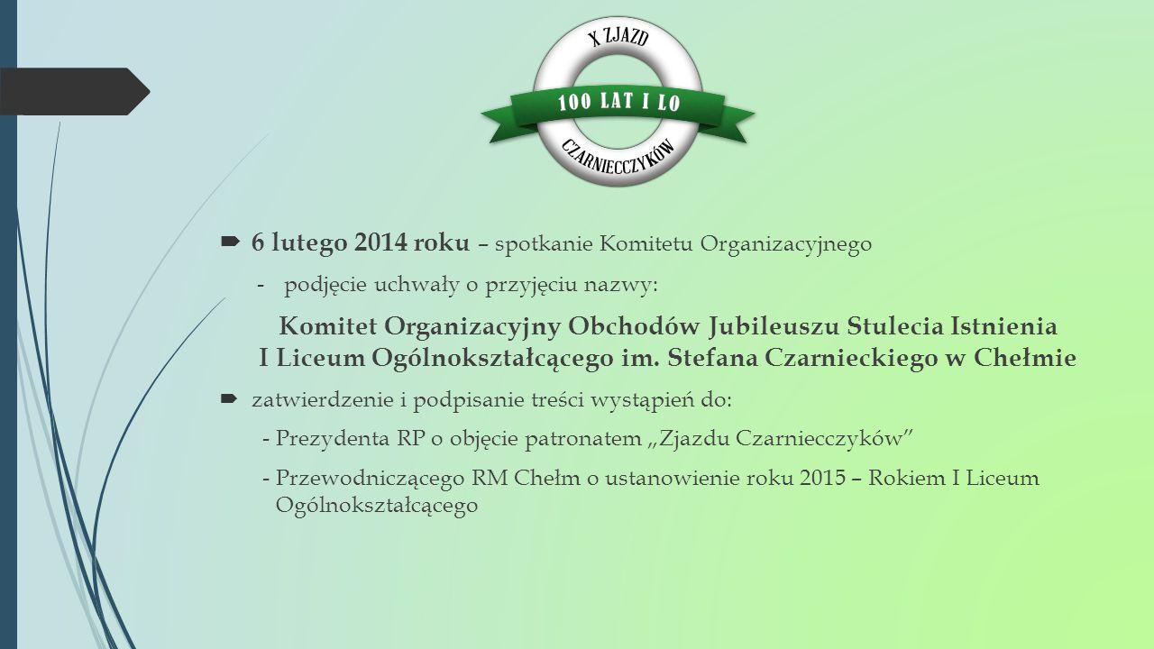  6 lutego 2014 roku – spotkanie Komitetu Organizacyjnego -podjęcie uchwały o przyjęciu nazwy: Komitet Organizacyjny Obchodów Jubileuszu Stulecia Istn