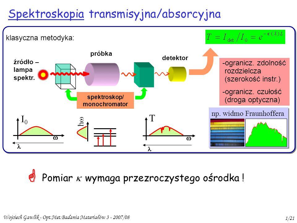 Wojciech Gawlik - Opt.Met.Badania Materiałów 3 - 2007/08 1/21 Spektroskopia transmisyjna/absorcyjna ħħ -ogranicz.