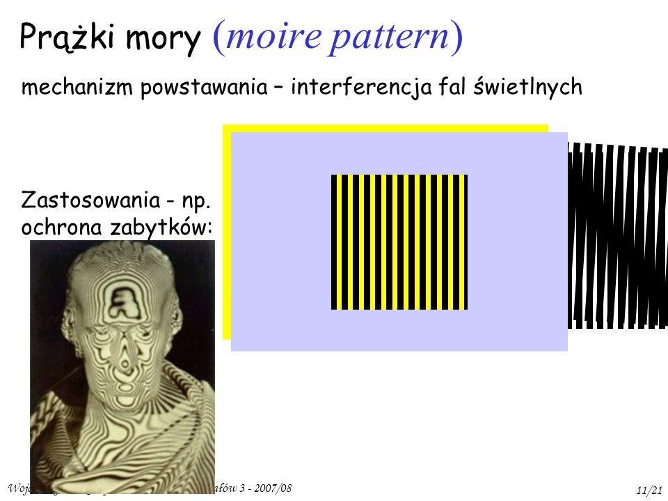 Wojciech Gawlik - Opt.Met.Badania Materiałów 3 - 2007/08 11/21 Prążki mory (moire pattern) mechanizm powstawania – interferencja fal świetlnych Zastosowania - np.