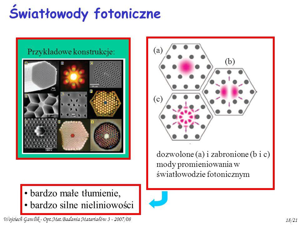 Wojciech Gawlik - Opt.Met.Badania Materiałów 3 - 2007/08 18/21 Światłowody fotoniczne bardzo małe tłumienie, bardzo silne nieliniowości dozwolone (a) i zabronione (b i c) mody promieniowania w światłowodzie fotonicznym (a) (b) (c) Przykładowe konstrukcje: