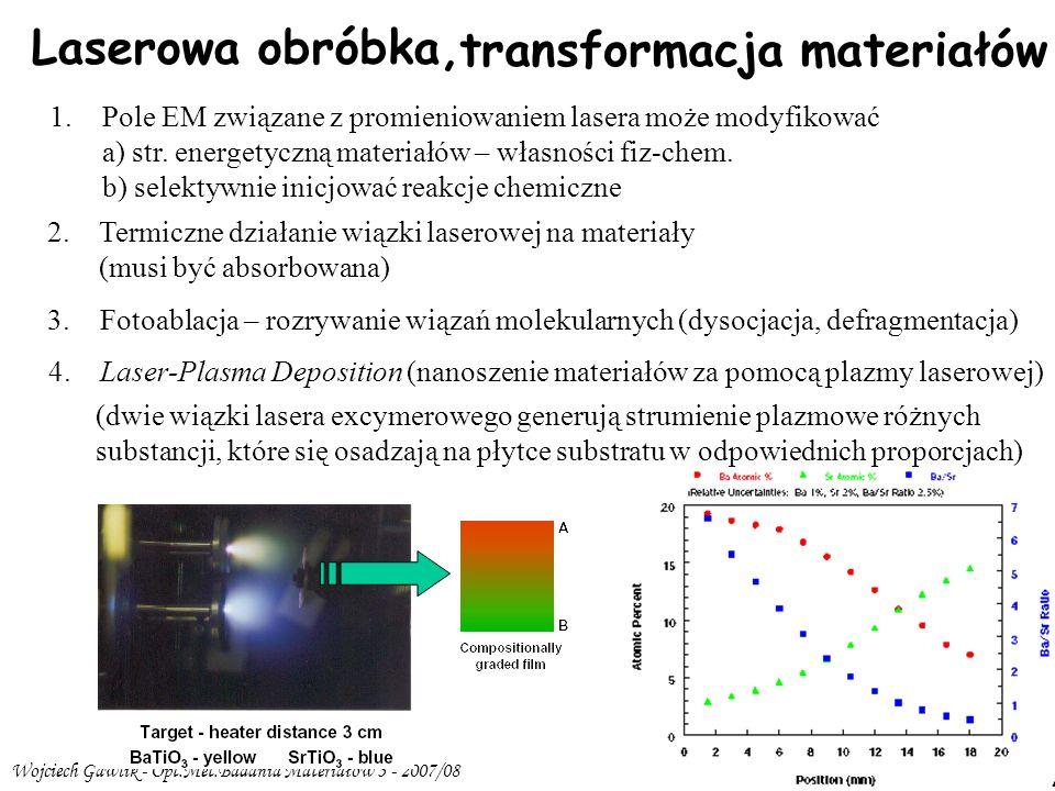 Wojciech Gawlik - Opt.Met.Badania Materiałów 3 - 2007/08 3/21 Laserowa obróbka, transformacja materiałów 1.Pole EM związane z promieniowaniem lasera może modyfikować a) str.