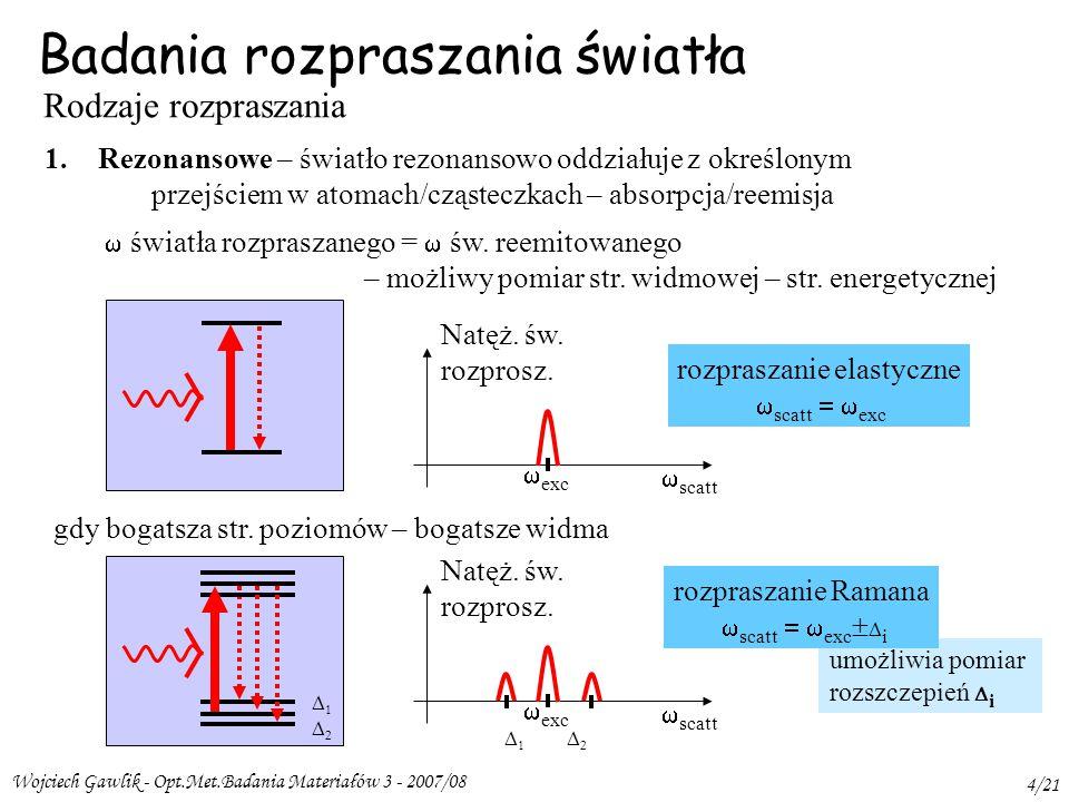 Wojciech Gawlik - Opt.Met.Badania Materiałów 3 - 2007/08 4/21 umożliwia pomiar rozszczepień  i Badania rozpraszania światła Rodzaje rozpraszania 1.Rezonansowe – światło rezonansowo oddziałuje z określonym przejściem w atomach/cząsteczkach – absorpcja/reemisja  światła rozpraszanego =  św.