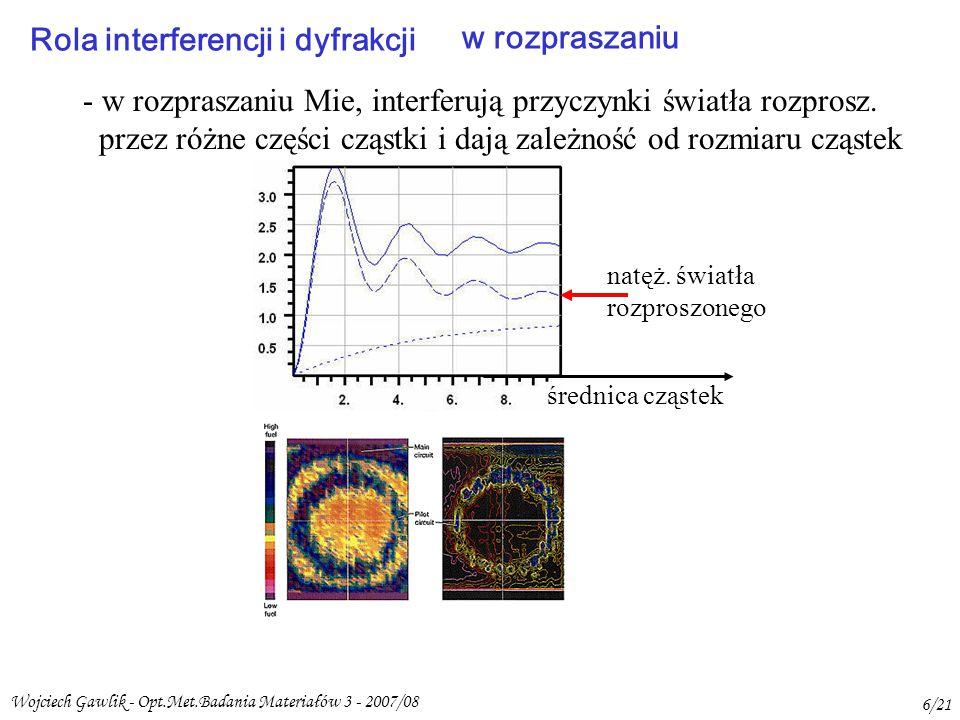 Wojciech Gawlik - Opt.Met.Badania Materiałów 3 - 2007/08 6/21 Rola interferencji i dyfrakcji w rozpraszaniu - w rozpraszaniu Mie, interferują przyczynki światła rozprosz.