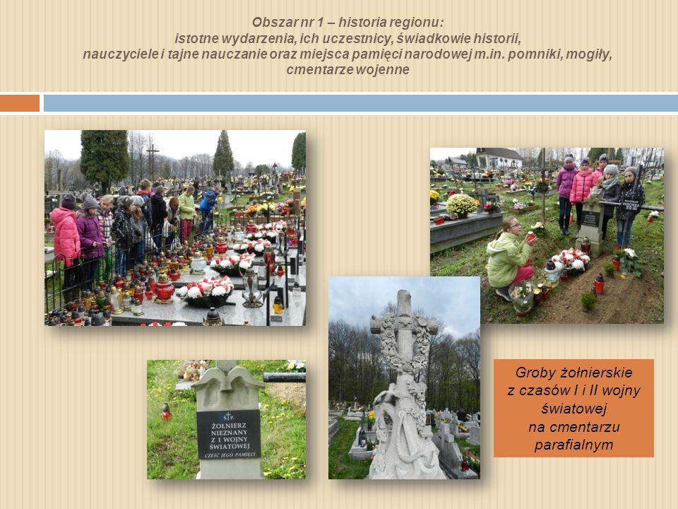 Obszar nr 1 – historia regionu: istotne wydarzenia, ich uczestnicy, świadkowie historii, nauczyciele i tajne nauczanie oraz miejsca pamięci narodowej m.in.