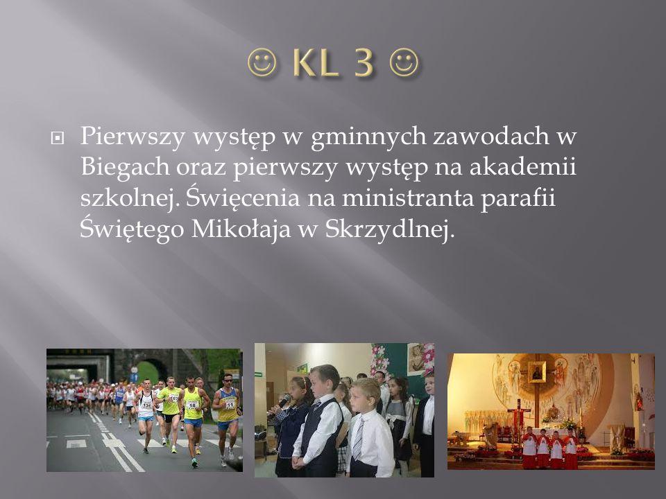  Pierwszy występ w gminnych zawodach w Biegach oraz pierwszy występ na akademii szkolnej. Święcenia na ministranta parafii Świętego Mikołaja w Skrzyd