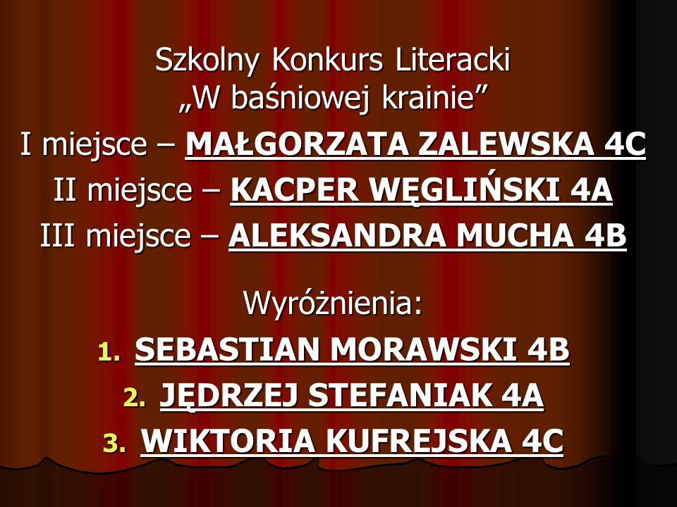 """Szkolny Konkurs Literacki """"W baśniowej krainie"""" I miejsce – MAŁGORZATA ZALEWSKA 4C II miejsce – KACPER WĘGLIŃSKI 4A III miejsce – ALEKSANDRA MUCHA 4B"""