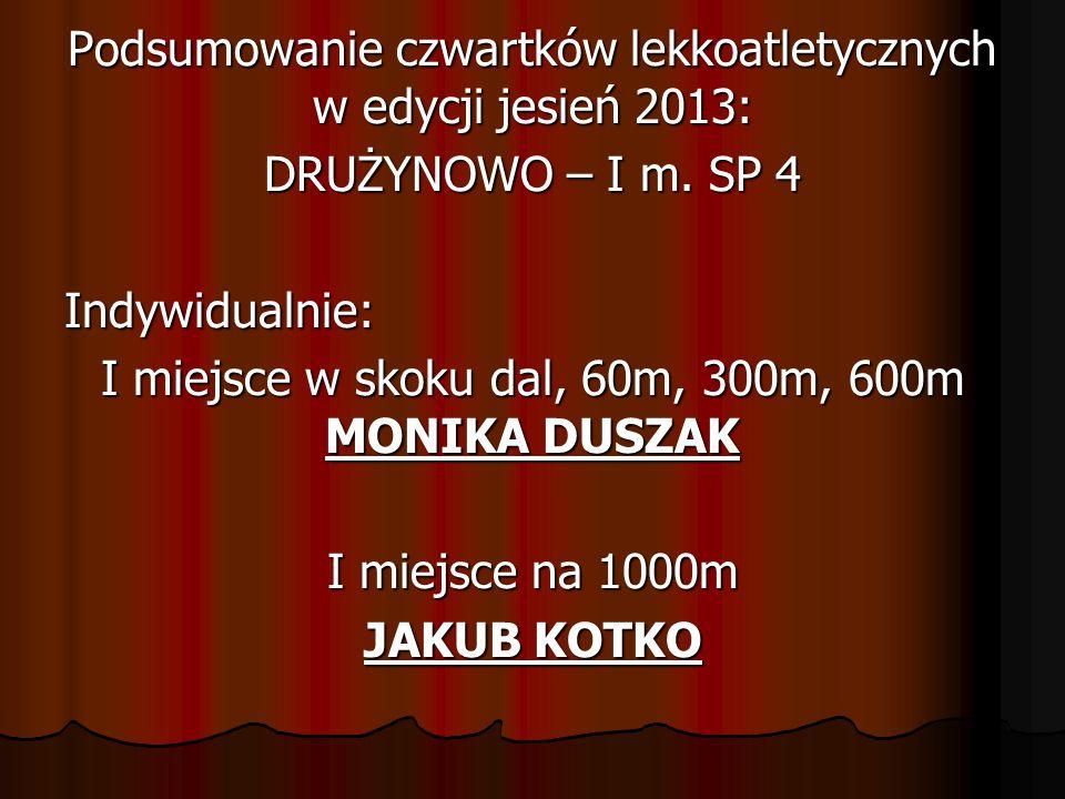 Podsumowanie czwartków lekkoatletycznych w edycji jesień 2013: DRUŻYNOWO – I m. SP 4 Indywidualnie: I miejsce w skoku dal, 60m, 300m, 600m MONIKA DUSZ