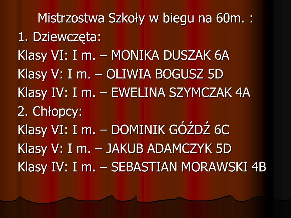 Mistrzostwa Szkoły w biegu na 60m. : 1. Dziewczęta: Klasy VI: I m. – MONIKA DUSZAK 6A Klasy V: I m. – OLIWIA BOGUSZ 5D Klasy IV: I m. – EWELINA SZYMCZ