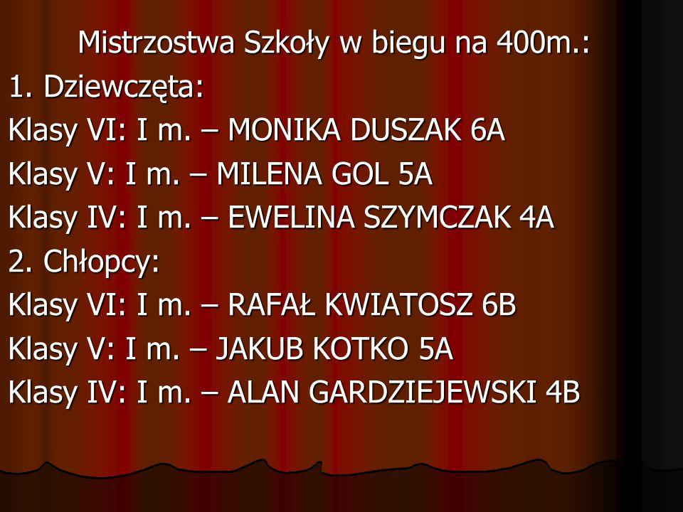 Mistrzostwa Szkoły w biegu na 400m.: 1. Dziewczęta: Klasy VI: I m. – MONIKA DUSZAK 6A Klasy V: I m. – MILENA GOL 5A Klasy IV: I m. – EWELINA SZYMCZAK