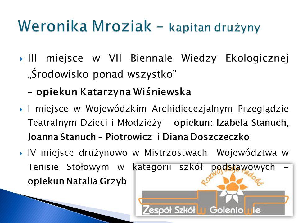  II miejsce w XII edycji Wojewódzkiego Konkursu Wiedzy Ekologicznej – opiekun Grażyna Kostrzewska